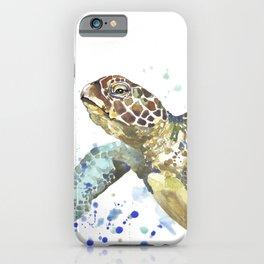 Abstract Watercolor Sea Turtle on White 2 Minimalist Coastal Art - Coast - Sea - Beach - Shore iPhone Case