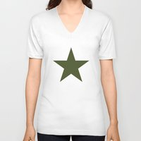 military V-neck T-shirts featuring Vintage U.S. Military Star by Be Sweet Studios