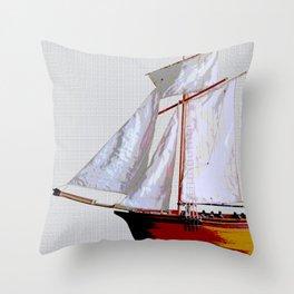 Sailing ship, abstract. Throw Pillow
