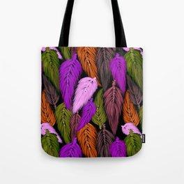 Watercolor Macrame Feather Toss in Black + Boho Purple Orange Tote Bag