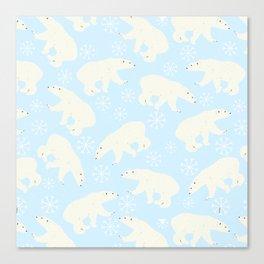Polar Bear Snow Flake Pattern Canvas Print
