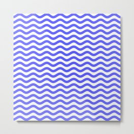 Waves (Blue & White Pattern) Metal Print
