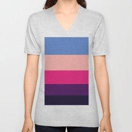 Pastel Purple Geometric Pattern Colour Block Stripes Unisex V-Neck