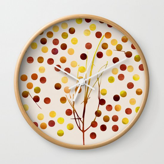 Tree of Life_Amber by Jacqueline and Garima Wall Clock