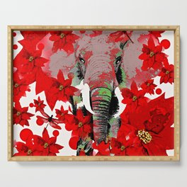 Elephant and Red Flowers Serving Tray