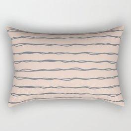 Minimalist Stripes Navy Gray on Blush Pink Rectangular Pillow