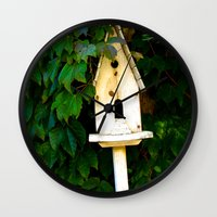 verse Wall Clocks featuring Birdhouse Verse by 3 Chics Couture