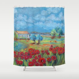 Peaceful rural landscape with lake, house and poppy field Shower Curtain