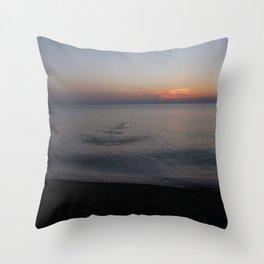 Rock Skipping at Sunset Throw Pillow