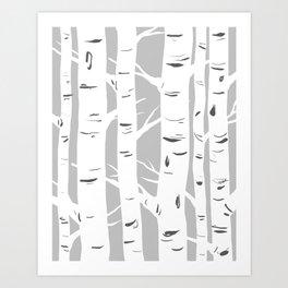Gray Birches Art Print
