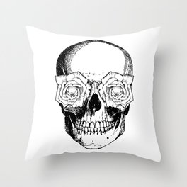 Skull and Roses | Skull and Flowers | Vintage Skull | Black and White | Throw Pillow