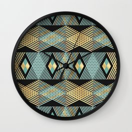 Golden haystacks with turquoise triangles print Wall Clock