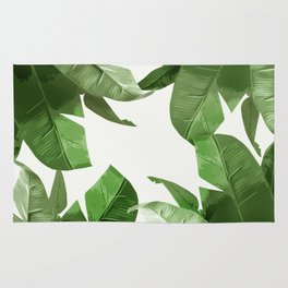Tropical Palm Print Treetop Greenery Rug