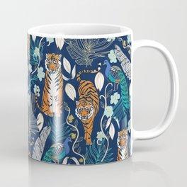 Tiger Toile on Navy Coffee Mug