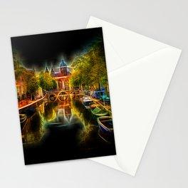 Neon Amsterdam Night Cityview Stationery Cards