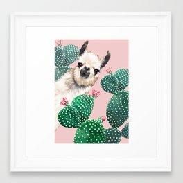 Llama and Cactus Pink Framed Art Print
