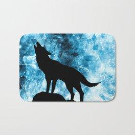Howling Winter Wolf snowy blue smoke Bath Mat