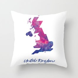 United Kingdom Map in Watercolor Throw Pillow