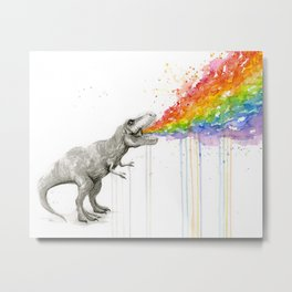T-Rex Rainbow Puke - Facing Right Metal Print