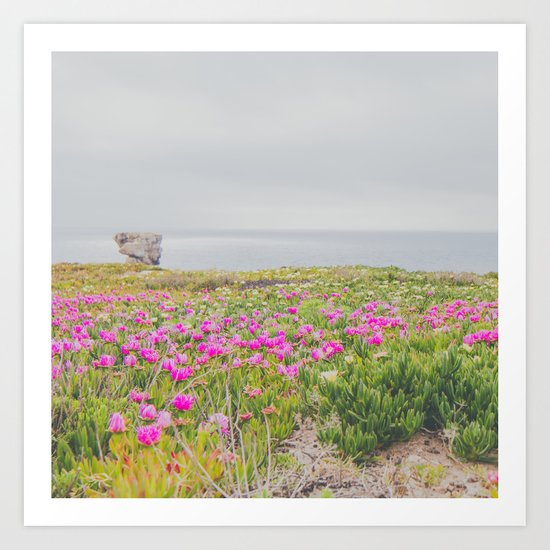 Across the flowers to the ocean Art Print