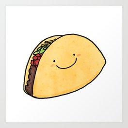 Cute Taco White Background Art Print