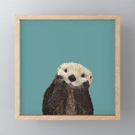 Cute Sea Otter on Teal Solid. Minimalist. Costal. Adorable. Framed Mini Art Print