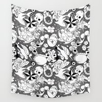 tattoos Wall Tapestries featuring Teddy Tattoos BW by TheBleepBloopShop