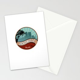 Jacksonville City Skyline Design Florida Retro Vintage 80s Stationery Cards