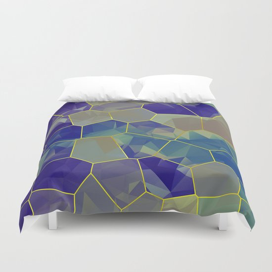 Stained Glass Polygons Duvet Cover