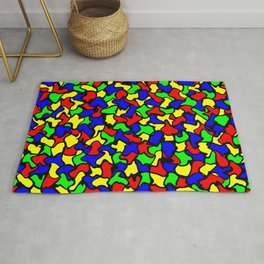 Red Green and Blue Wobble Tiles Rug