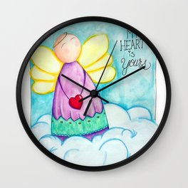 February Angel - My Heart is Yours Wall Clock