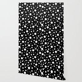 White on Black Polka Dot Pattern Wallpaper