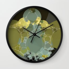 courtney - abstract design of pale aquamarine chartreuse green taupe brown Wall Clock