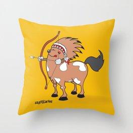 funny zodiac/sagittarius Throw Pillow