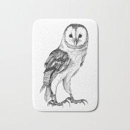 Barn Owl - Drawing In Black Pen Bath Mat