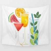 martini Wall Tapestries featuring Summer Cocktail Trio by Cat Coquillette