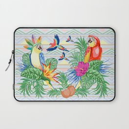 Macaws Parrots Exotic Birds on Tropical Flowers and Leaves Laptop Sleeve