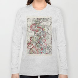 Beautiful Vintage Map of the Mississippi River Long Sleeve T-shirt