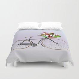 Bicycle Pansies Duvet Cover