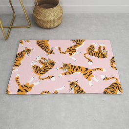 Lovely tiger falling from the pastel sky hand drawn illustration pattern Rug