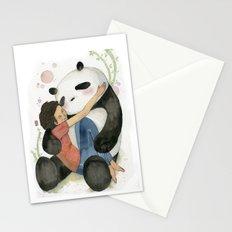 Cuddling with Panda Stationery Cards