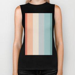 striped color pattern - red , orange, grey, green, Biker Tank