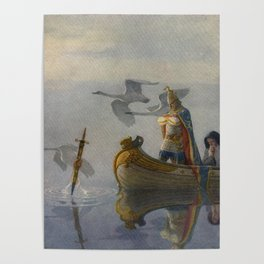 King Arthur and Excalibur Poster