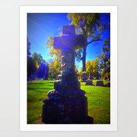 Bright Cement Cross Solar Flare Art Print
