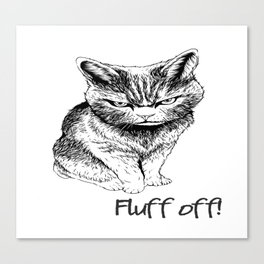 Fluff Off Angry Cat Canvas Print