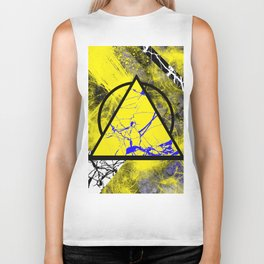 Night And Day - Blue And Yellow, Black And White, Abstract, Geometric, Marble Artwork Biker Tank