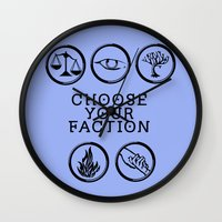 divergent Wall Clocks featuring Divergent - Choose your faction by Lunil