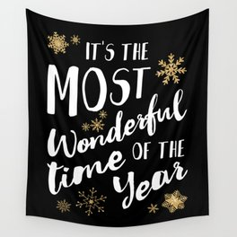 It's the Most Wonderful Time of the Year - Black Wall Tapestry