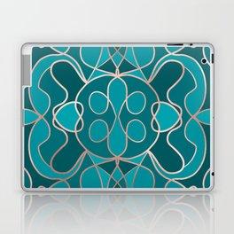 Modern Artsy Ocean Blue Rose Gold Geometric Laptop & iPad Skin