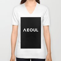 seoul V-neck T-shirts featuring Seoul [Hangul] by 00yu